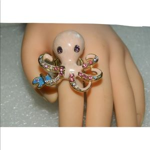 Pink Octopus Elastic Adjustable Ring